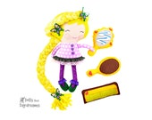 Rapunzel Princess Sewing Pattern PDF Cloth Doll Yarn Hair DIY Felt Mirror Brush Comb Beauty Salon Tutorials Included