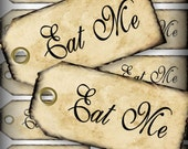 Eat Me Favor Tags Digital Collage Sheet DIY Weddings Alice In Wonderland Favor Tags Printable Download  257