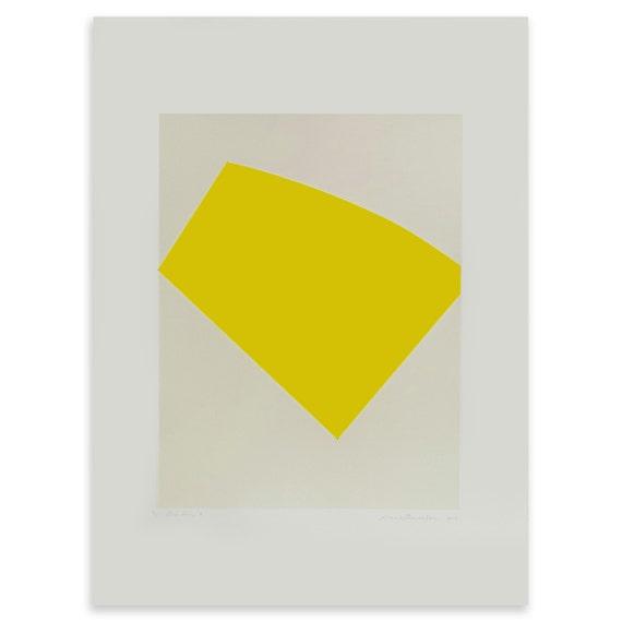 Large yellow abstract screenprint, bold geometric original print by Emma Lawrenson