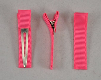 Ribbon-Lined Single Prong Alligator Clips - 12 pieces
