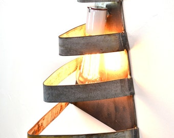 "LOFT V2 - ""Right Angle"" Wine Barrel Ring Wall Sconce - 100% Recycled"