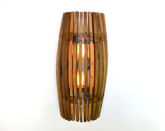"CRAFTSMAN - ""Nohara"" - Wine Barrel Wall Double Sconce Convex - 100% RECYCLED"