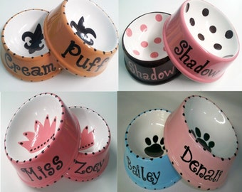 Pair of Large Personalized Pet Dishes - 4 designs to choose from