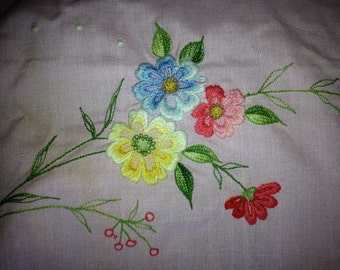 Vintage Pink Ruffeled Apron with Pink Yellow and Blue Embroidered Flowers and Pocket