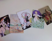 Card Collection, Greeting Cards, Art Deco Cards, Birthday Cards, Blank Cards, Noble Ladies - Set of 5