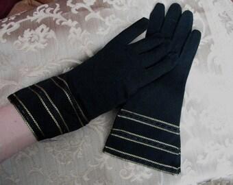 Hansen Size 7 Black Gloves with Gold Details