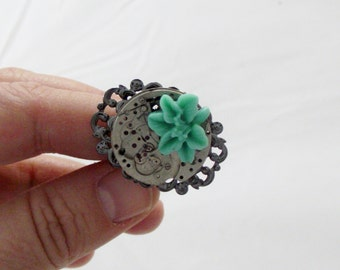 Steampunk Teal Flower Ring Recycled  Women Upcycled Jewelry Neo Victorian Watch parts gun metal Boho Rings Edwardian Adjustable Filigree