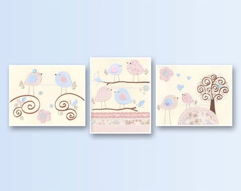 Baby Girl Nursery Decor, Girl Nursery Art, Nursery Wall Art, Baby Girl Room Decor, Girl Nursery Wall Art, baby blue pink, Set of 3 8x10