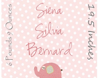 Baby girl room, nursery wall art, nursery Art, baby pink elephant, birth stats, size 11x14 pink, gree, flowers, birth stats, giraffe