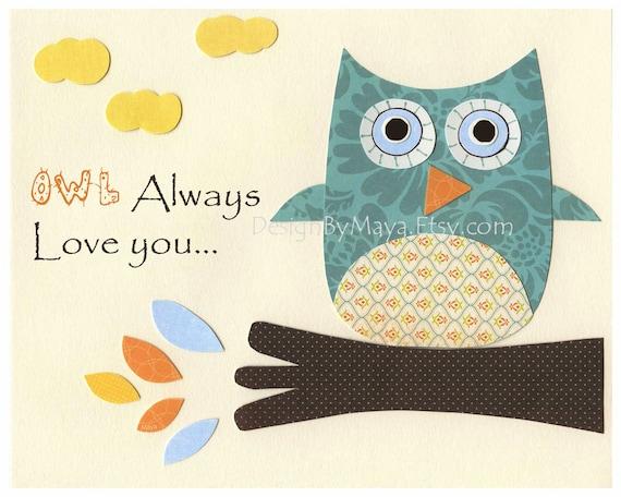 Nursery wall art print, Baby boy room decor, Owls ...OWL always love you.....aqua orange