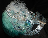 Turquoise, Light Blue and Silver Metallic Capri Mask - Made to Order