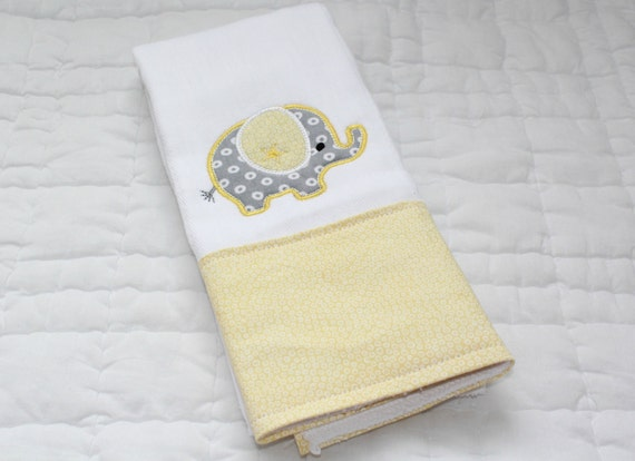 Boutique Style Baby Burp Cloth - Elephant- Gray and Yellow - Neutral Gender