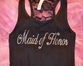 Maid of Honor half lace Tank Top Shirt. Matron of honor Tank. Bridesmaid Tank Tops. Bridesmaid rhinestone tanks. Bachelorette party tanks.
