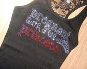 Pregnant With A Princess Maternity Tank Top Shirt: Crystal Rhinestone Bling embroidered Tee T-Shirt, Boy , Girl, Black, Pink, Blue