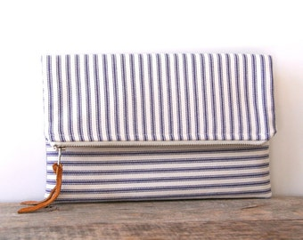 foldover clutch purse, stripe zippered pouch, mother's day gift, nautical clutch, blue and cream ticking, shabby chic clutch