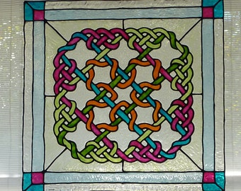 Celtic panel window cling, stained glass look