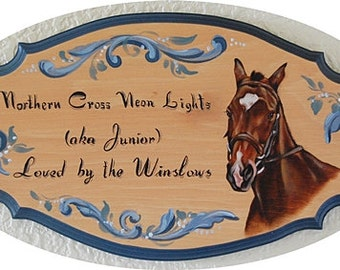 Custom stall signs, hand painted horse plaques - stable plaques with horse portrait painting