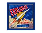 Small Journal - Explorer Texas Vegetables  - Fruit Crate Art Print Cover