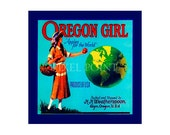 Small Journal - Oregon Girl -  Fruit Crate Art Print Cover
