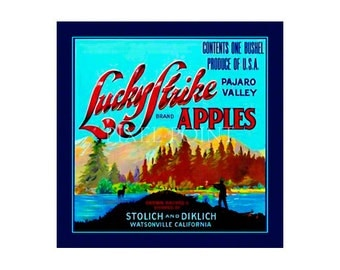 Small Journal - Lucky Strike Apples - Fruit Crate Art Print Cover