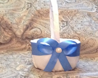 wedding flower girl basket white and blue custom made