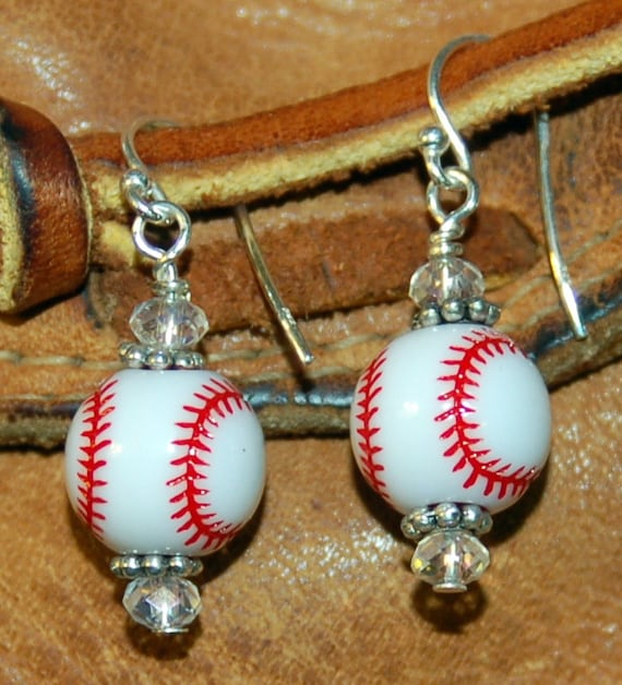 baseball earrings sports jewelry white clear