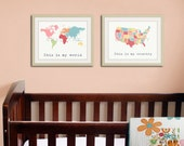 Large world map print 12x16. Set of 2 USA map and world map poster wall art for playroom, kids wall art. 2-12x16 prints by WallFry