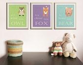 Be brave little bear. Grow wise little owl Woodland nursery decor. Owl Nursery wall art. SET of ANY 3 prints. Kids decor artwork by WallFry