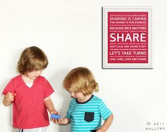 Playroom wall art, playroom prints. Inspirational typography SHARE. Subway word art for kids. Art print by WallFry