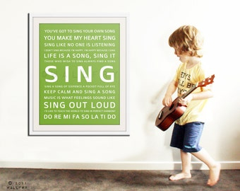 Nursery inspirational print. Children art typograpy print for playroom decor or nursery art. Kids Wall art SING print by Wallfry