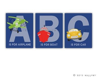 ABC transportation prints. Nursery wall art for boys. Playroom art cars, planes alphabet. SET OF 3 prints by WallFry