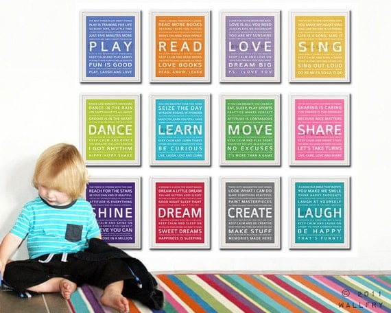 word art wall art for kids playroom prints playroom children. Black Bedroom Furniture Sets. Home Design Ideas