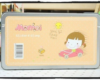 Momoi Rubber Stamp & stickers set in Tin Box - 12 pieces