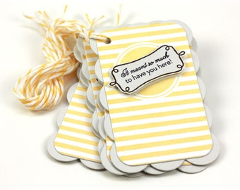 Tiny Favor Tags - Soft Stone and Lemon Tart - Set of 5 - Party Favor - Wedding Favor - Birthday - Treats