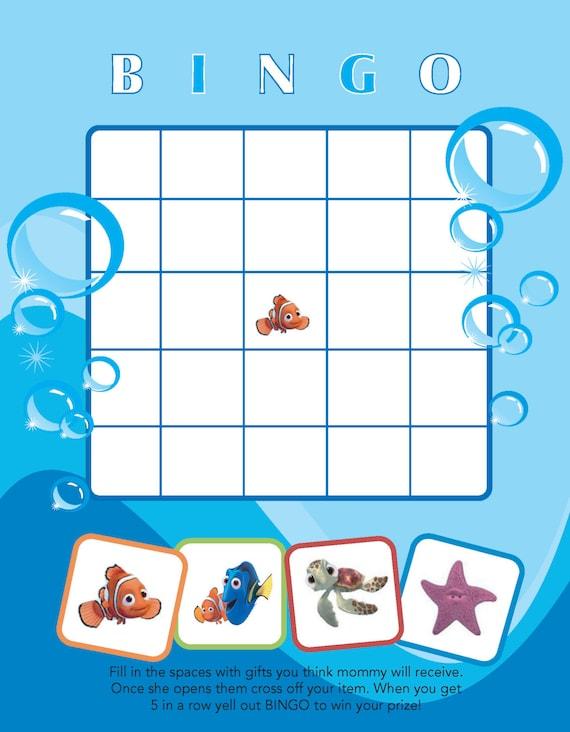 Printable Finding Nemo themed Baby Shower Bingo by jennya309