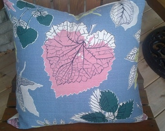 Vintage barkcloth fabric made into a  pillow cover steel blue and vintage pink leaf pattern