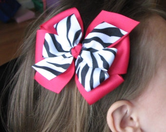 Large 4 inch Zebra and Magenta Layered Pinwheel Bow-- SO CUTE - Etsykids Team