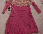 Vintage Antique Circa 1918 WWl Silk Dress Huge Lace Collar Ruching as is