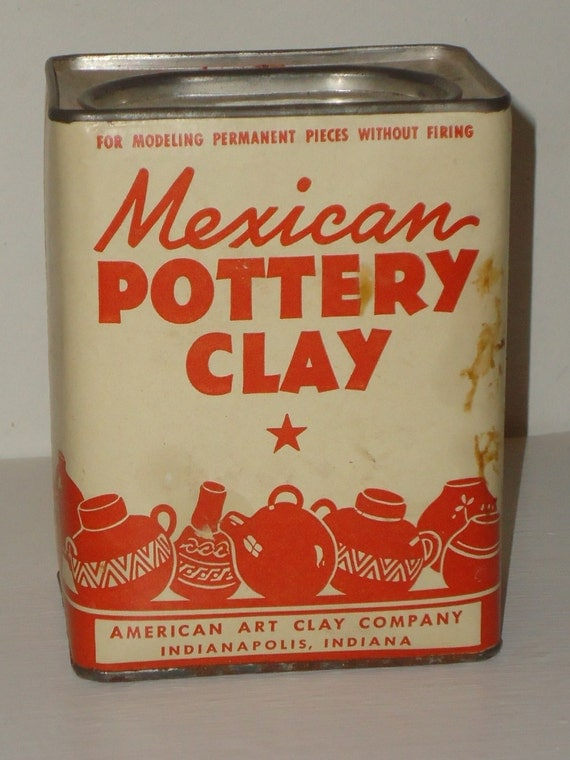 Vintage box mexican pottery clay art material by momspopshoppe