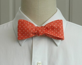 Men's Bow Tie in coral with ivory pin dots (self-tie)