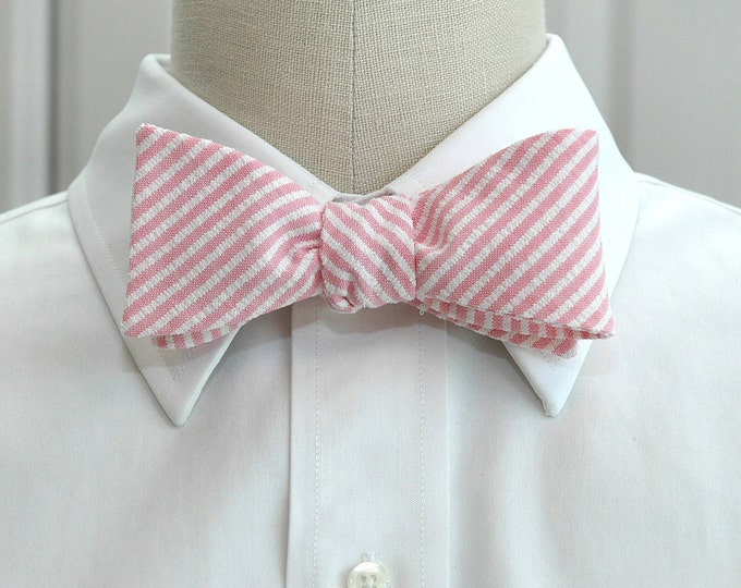 Men's Bow Tie, pink seersucker, Valentine's Day gift, wedding party tie, groom/groomsmen bow tie, summer bow tie,  Southern preppy bow tie