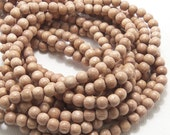 Rosewood, Round, 4mm - 5mm, Very Small, Natural Wood Beads, Full 16 Inch Strand, 95pcs - ID 1408