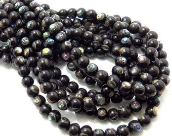 Ebony Wood with Abalone Shell Inlay, Round, Smooth, 6mm, Small, Artisan Handmade Bead, 8 Inch Strand - ID 1485