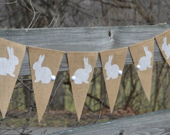 Bunny Banner  ..  Burlap Banner  ..  Easter Banner   ..  Easter Decoration