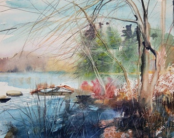 New England Landcape No.139, limited edition of 50 fine art giclee prints from my original watercolor