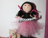 Personalized custom birthday cake topper with tutu and cat