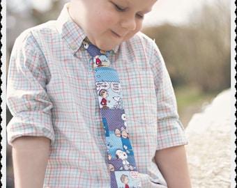 Blue Charlie Brown Comic Boys Necktie