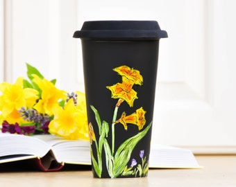 Chalkboard  Ceramic Travel Mug - Made to Order - Hand Painted Porcelain Eco Cup - Black Silicon Lid