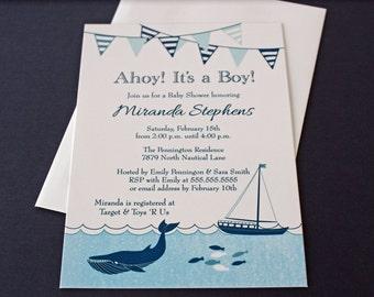 Printed Nautical Sailboat Boy Baby Shower Invitations