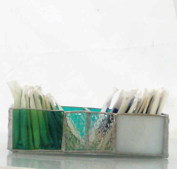 Stained glass storage bin organizer for small tea bag sugar and